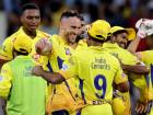 Chennai Super Kings' Faf du Plessis, centre, celebrates after his side beat Sunrisers Hyderabad.