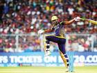 Andre Russell of Kolkata Knight Riders tries to keep his balance next to the stumps during his 25-ball 49 against Rajasthan Royals in the first eliminator at The Eden Gardens in Kolkata.
