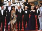 Donald Glover, from right, Alden Ehrenreich,Emilia Clarke, director Ron Howard, Woody Harrelson, Thandie Newton, and Joonas Suotamo at the premiere of 'Solo: A Star Wars Story' at Cannes