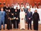 Shaikh Mohammad with Mona Ganem Al Merri, Bernardino Leon and members of theDubai International Communication Committee.