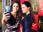 Kajol takes a selfie with her very-glam wax statue.