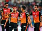 Siddharth Kaul (centre) of Sunrisers celebrates taking the wicket of Sunil Narine of the Knight Riders during the the IPL qualifier 2 match at the Eden Gardens in Kolkata.