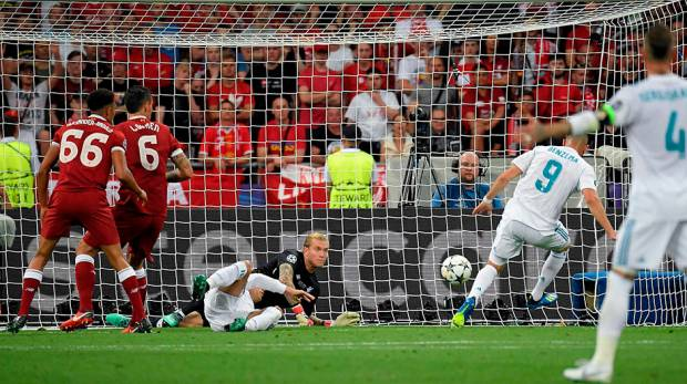 Real Madrid's Karim Benzema scores a goal which was later disallowed