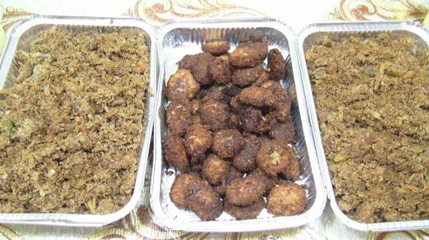 The Pisasati (centre) and Beef Randang