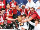 The Dubai Municipality team celebrate with the trophy after defeating Dubai Public Prosecution 63-46 in the final of the NAS Wheelchair Basketball held at the Nas Sports Complex late on Tuesday.