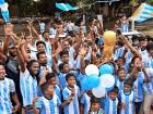 Kerala football enthusiasts express their support for Argentina ahead of FIFA World Cup 2018, in Kochi on Sunday, June 10, 2018.