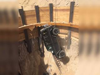 Car plunges into 15-metre-deep hole