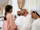 Shaikh Mohammad Bin Zayed offers condolences to the family of martyr Obeid Hamdan Saeed Al Abdooli during his visit to the condolence tent in Dibba Al Fujairah.
