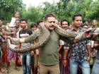 Forest range officer Sanjay Dutta (C), holds a 30 feet long python weighing 40 kg at Sahebbari villa