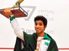 Ahsan Ayaz celebrating after Pakistan won World Junior Squash Championship 2016 Poland