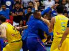 Philippines and Australia basketball players fight during the FIBA World Cup Qualifiers.