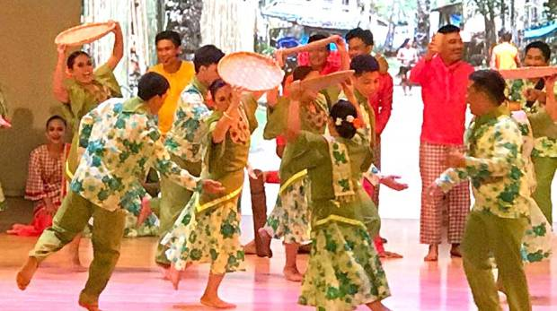 Members of the Leyte Normal University performs the Limasawa cultural show in Dubai