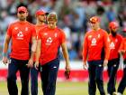 England's players leave the field after defeat to India during the Twenty20 cricket match between England and India at Old Trafford cricket ground in Manchester, England, Tuesday, July 3, 2018.