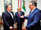 US Secretary of State Mike Pompeo (left) is received by President-elect Lopez Obrador (centre) and his appointed Secretary of Foreign Affairs Marcelo Ebrard.