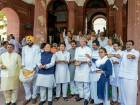Congress lawmakers stage a protest against the hike in the minimum support price of alternative crops, at Parliament House, on the second day of the monsoon session, in New Delhi.