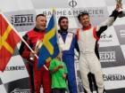 The Victory Team Alex Carella (centre) powered his way to an outright victory in the Match Race honours at the EDH Grand Prix of Norway on Friday.