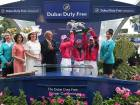 The Girls Team with the Dubai Duty Free Shergar Cup, the world's premier international jockeys' competition, at the Ascot Racecourse.