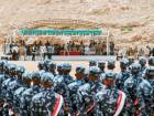 UAE-trained cadets of the Yemeni police, supporting forces loyal to the Saudi and UAE-backed government, lining-up during their graduation in the southeastern port city of Mukalla.