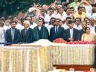Former Afghanistan president Hamid Karzai and representatives of SAARC countries attend the cremation of Vajpayee, at Rashtriya Smriti Sthal in New Delhi.