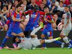 Crystal Palace's Mamadou Sakho concedes a penalty against Liverpool's Mohammad Salah.