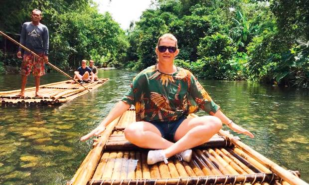 Sai along . Adele enjoyed bamboo rafting at Khao Lak, a 20km long strip of coastal resorts in Phang