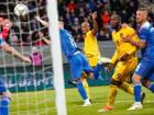 Belgum's Romelu Lukaku (9), right, scores against Iceland during the UEFA Nations League.