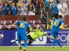 Brazil's forward Neymar score with a free kick against El Salvador during aninternational friendly at FedEx Field in Landover.