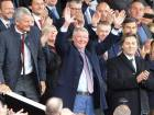 Former Manchester United manager Alex Ferguson waves as he takes his seat on the stands yesterday. Ferguson admitted that it was a big moment for him to be back at Old Trafford following brain surgery in May.