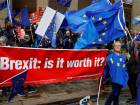 Anti-Brexit supporters demonstrate outside the conference centre at the annual Labour Party Conference in Liverpool, Britain.