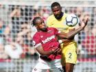 West Ham's Michail Antonio fights for possession with Chelsea's Antonio Rudiger (right) during a Premier League match at the London Stadium on Sunday.