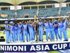Indian players celebrate with the trophy after winning the Asia Cup final cricket match against Bangladesh.