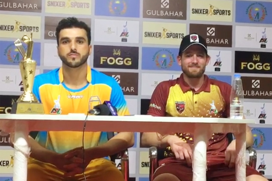 Rikki Wessels (right) and man of the match Shahidullah Kamal talk to the media after their group mat