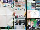 Blank editions of An Nahar stand out among other newspapers at a kiosk in Beirut on Thursday.