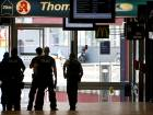 Police forces stand at the Cologne, western Germany, main station Monday, October 15,  2018, after they have closed parts of the station because of a hostage situation. Police said that incident appears to have started Monday at a pharmacy inside the train station.