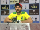 Pakistan Star Shahid Afridi of the Paktia Panthers answers questions after his side lost to Kabul Zw