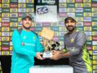Aaron Finch (left), Australia skipper, and his Pakistan counterpart, Sarfraz Ahmad, with the TUC Cup duringthe unveiling ceremony in Abu Dhabi on Tuesday.