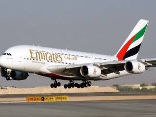 Emirates hostess who fell off plane dies