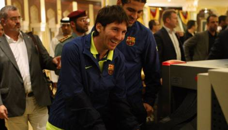 Barcelona team arrive in Abu Dhabi
