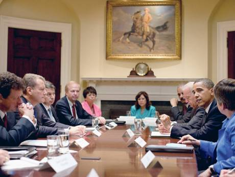 US President Barack Obama meets with BP executives