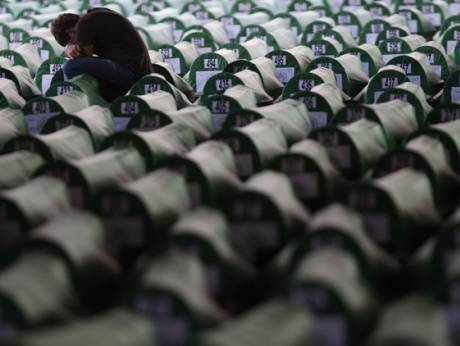 Coffins of Srebrenica victims