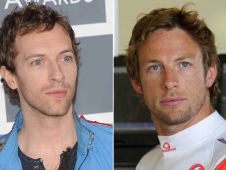 Chris Martin and Jenson Button
