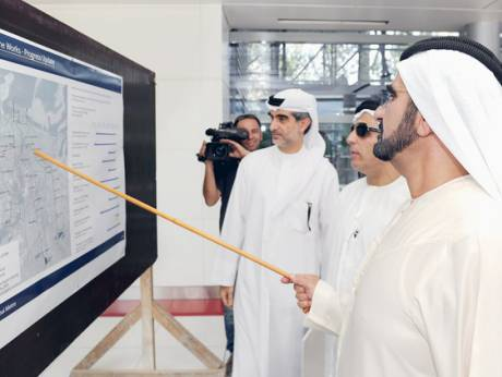 Shaikh Mohammad during a test run on the Metro Green Line