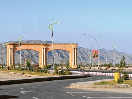 The entrance to the venue of Afghanistan's new international cricket stadium in Nangarhar