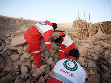 Iranian Red Crescent rescue workers
