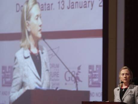 Clinton at Forum for the Future conference in Doha