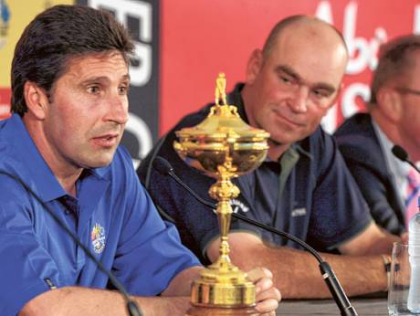 Jose Maria Olazabal, Thomas Bjorn and Richard Hills