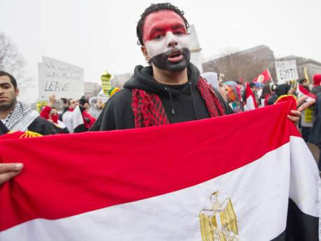 Egyptians demonstrate in support of Egypt's uprising