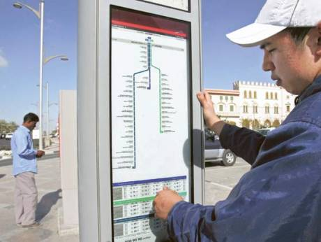 The new bus route map installed at a bus station in Jumeirah