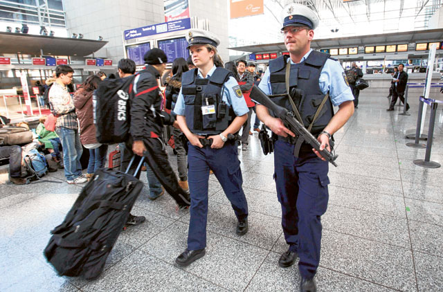 German federal police patrol Frankfurt Airport