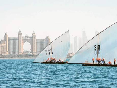 Al Embratore and Al Adeed in action in the Dubai traditional 43-foot dhow sailing championships